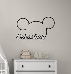 Mickey Mouse Themed Nursery Boy, Mickey Mouse Ears with Name Wall Decal Kids, Custom Personalized Baby Boy Name Decor Kids Room This listing is for Mickey Mouse Name Wall Decal Head Ears Vinyl Sticker Decals Custom Personalized Baby Room Themes, Baby Boy Room Decor, Baby Room Diy, Baby Boy Rooms, Nursery Themes, Themed Nursery, Decor Room, Wall Decals For Bedroom, Name Wall Decals