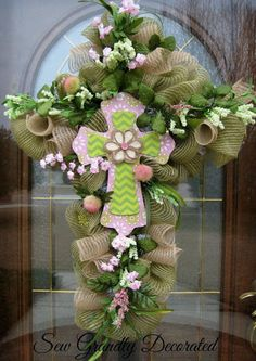 Easter Cross Wreath Door Or Wall By SewGrandlyDecorated 13967
