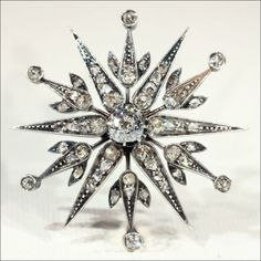 Antique Victorian Diamond Starburst Brooch, Convertible from vsterling on Ruby Lane