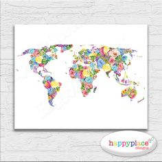Soft Pastel Feminine Abstract Printable World Map Art. Watercolor Flower Colorful, Bright & Happy Baby Shower Gift Idea, Dorm Wall Art Print