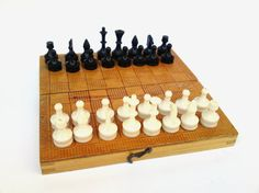 Vintage wooden chess board game handmade by PetarsVintage on Etsy, $26.20