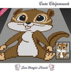 Cute Chipmunk C2C crochet graph | Craftsy Crochet Pixel, Crochet C2c, Graph Crochet, Manta Crochet, Tapestry Crochet, Baby Blanket Crochet, Crochet Afghans, Crochet Stitches, Baby Afghans