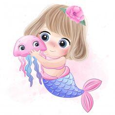 Cute Mermaid Hugging A Little Jellyfish Cute Mermaid, Mermaid Art, Mermaid Cartoon, Baby Animal Drawings, Cute Drawings, Watercolor Flower Background, Floral Watercolor, Little Giraffe, Mermaid Drawings