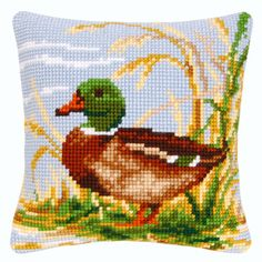 Cross Stitch Cushion, Cross Stitch Bird, Cross Stitch Animals, Counted Cross Stitch Kits, Cross Stitching, Cross Stitch Embroidery, Cross Stitch Patterns, Needlepoint Patterns, Afghan Crochet Patterns