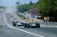 1969. XV Gran Premio de España at Montjüic Park, Barcelona. Brabham (Brabham BT26A9 followed by Stewart (Matra MS80).