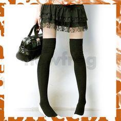 New High Legging Socks Sexy Lady Black Knit Thigh Knee Cozy Forced Elasticity  short black skirt  http://www.ebay.com/bhp/knit-thigh-high-socks