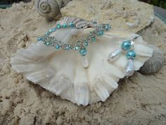 Turquoise Crystal Necklace and Earring Set by GumboCreations, $60.00