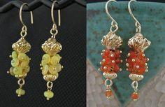 Handcrafted Carnelian Gemstone Cluster Earrings by LoneRockJewelry