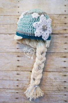 Free Knitting Elsa Frozen Snowflake Crochet Hat Pattern With Braids - Beanie Hat, Snowflake Braid
