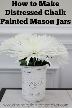 How to Make a Distressed Painted Mason Jar