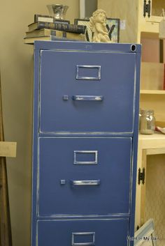 Who knew you could turn an ugly old metal file cabinet into something nice!?!