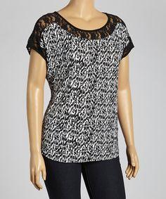 Look at this #zulilyfind! Black & White Lace Scoop Neck Top - Plus #zulilyfinds