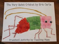 """Very quiet cricket craft. Find the book """"Very Quiet Cricket"""" by Eric Carle at the Library. Call number: J E CAR"""