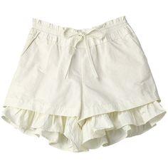 【ELLE SHOP】ショートパンツホワイト カオン(Kaon) ファッション通販 エル・ショップ ($98) ❤ liked on Polyvore featuring shorts, bottoms, skirts and pants