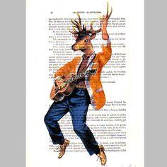 Elvis, the King deer- ORIGINAL ARTWORK Hand Painted Mixed Media on 1920 Parisien Magazine 'La Petit Illustration'. $10.00, via Etsy.