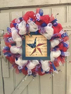 Labor Day Deco Mesh Wreath Patriotic Deco Mesh by ScrapyWreathShop