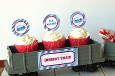 DIY Train Party CUPCAKE toppers 2 designs All by partypapers, $5.00
