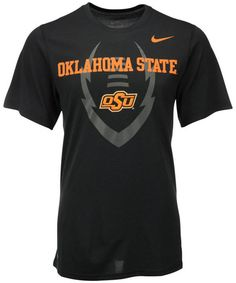 Start football season with a win wearing the Oklahoma State Cowboys men's Football Legend Icon tee. The shirt features your team's name and logo with subtle football graphics for game-day spirit and keeps you cool with moisture-absorbing Dri-FIT technology. Crew neckline Short sleeves Screen print team name and logo at front Nike swoosh logo at upper-left chest Faded football graphic at front Dri-FIT moisture-wicking technology Polyester Machine washable