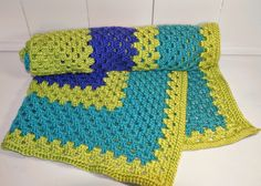 Bright Blue, Teal, & LIme Green Baby Blanket - handcrafted crochet, lapghan, receiving blanket, baby shower gift - OOAK - Ready to Ship by QueenBsBusyWork on Etsy