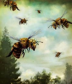 "Crown of Bees by Rachael Shankman  Art Print / SMALL (13"" x 15"")    $24.00"