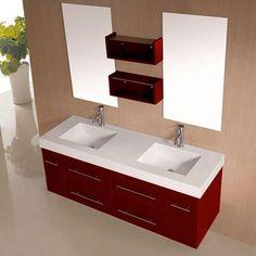 meuble salle de bain ceylan rouge