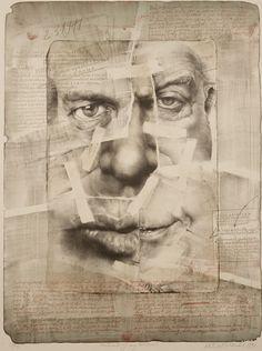 "Oldřich Kulhánek - ""Portrait of My Weasel (Informer)"", drawing,  lithograph, print, 25 5/8 x 19 3/16 in, 1990."