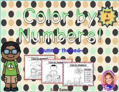 Help boost your students' addition AND fine motor skills with this packet! There are 5 different Summer themed pages. Check out my shop for more themed color-by-number packs!