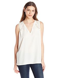 NYDJ Womens Modern Embroidered Sleeveless Blouse Vanilla XSmall >>> For more information, visit image link.(This is an Amazon affiliate link)