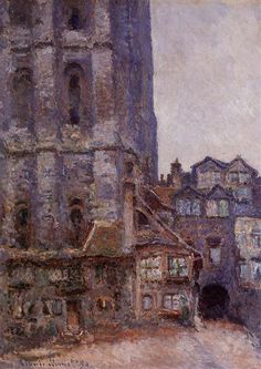 """""""The Cour D'Albane, Grey Weather"""" by Claude Monet, 1892 ・ Style: Impressionism ・ Genre: cityscape"""