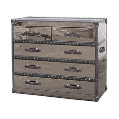 Steamer Trunk Dresser | Silver Black Leather Steamer Trunk 5 Drawer Dresser | eBay