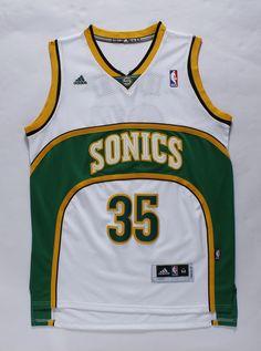 Adidas NBA Seattle Sonics 35 Kevin Durant Swingman Throwback White Jersey
