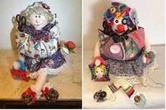 Guarda tus utensilios de costura en esta muñeca. ¡Estarán a buen recaudo!