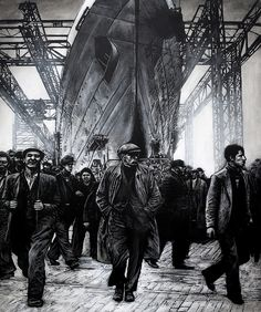 """""""The Workers"""" by Ryan Mutter.Contemporary Scottish painter of industrial and maritime subjects. Man Vs Nature, Industrial Artwork, Social Realism, Glasgow School Of Art, Fantasy City, Art For Art Sake, Ship Art, Love Art, Painting Inspiration"""