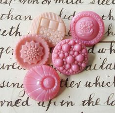 Vintage Glass Buttons Group 5  Small  fancy Pink Glass buttons  Art Deco Flower designs,.