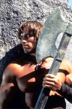 """Arnold Schwarzenegger as Conan the Barbarian: a reviewer said """"the blood splattered to the fifth row."""""""