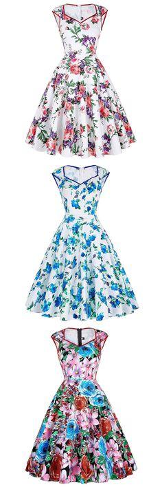 Floral Print Summer cotton Dresses Women Casual Party Vestidos de festa Vintage Retro 50s 60s Rockabilly Pinup roupa Swing Dress