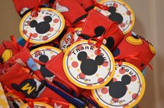 Mickey Mouse Birthday Party - Party Favor Tags & Crayon Rolls