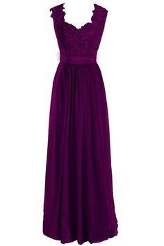 Singmo V Neck Long Formal Bridesmaid Dress Lace Prom Evening Dress 18W Deep Purple
