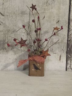 Primitive Country Crow on Vintage TinCrow and by FlatHillGoods