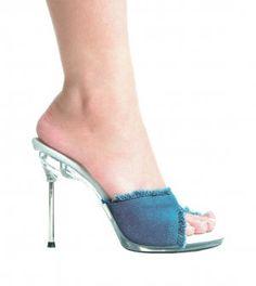 cd5fdf976c7 Ellie 458-Bonita 4.5 inch metal high heel mules frayed blue denim sandals  shoes