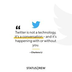 Twitter is a place where people share their thoughts and communicate with each other. Twitter's 500 million users are sharing, joking, complaining, and talking about every thought, brand, and topic that exists. And whether or not your brand has a presence on Twitter, users are likely discussing it anyway. Thus, Twitter can be leveraged to engage with interested parties to help you find prospects, market, promote, brand, watch competitors' moves, and generally, help you meet your business… What Is Twitter, Twitter S, Business Goals, Meet You, Conversation, Jokes, Parties, Social Media, Technology