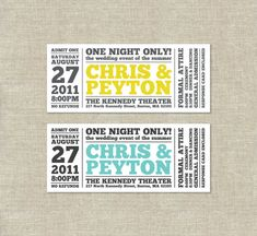 Cool, modern ticket-style wedding invitation. Just designed something similar for a client.