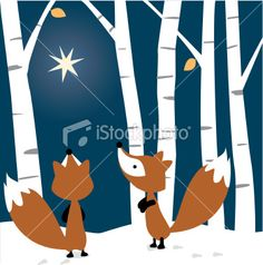 Foxes See the Star Royalty Free Stock Vector Art Illustration