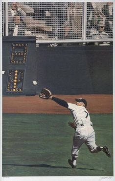 """Mickey Mantle """"Perfect Catch"""" by Andy Jurinko New York Yankees Baseball, Ny Yankees, Sports Baseball, Baseball Players, Baseball Field, Baseball Cards, Mlb Players, Baseball Wall, Phillies Baseball"""