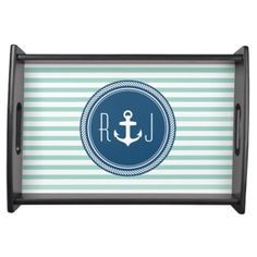 Personalized Monogram Navy and Seafoam Nautical Serving Tray