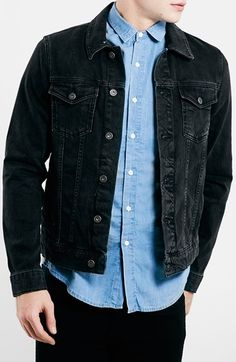 Men's Topman Washed Denim Jacket