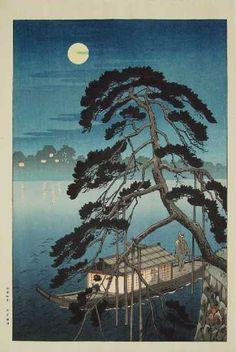 Pleasure Boat Under a Monnlit Pine (1938). Koho Shoda. Printing. Location: Ukiyo-e Gallery.