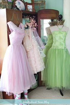 Antique furniture, hangers and sewing forms to display dress-up clothing :)