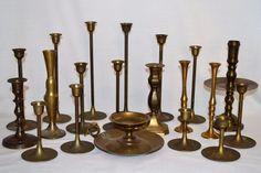 Huge Lot 20 Vintage Brass Candlesticks Candle Holders Graduated Heights #Enesco #AltarorWeddingDecor