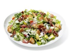 BLT Sandwich Salad from FoodNetwork.com...Love it...even more with some BBQ chicken breast fanned atop.
